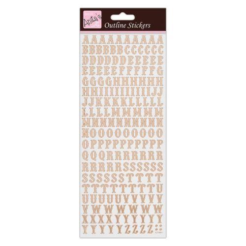 Outline Stickers - Traditonal Alphabet - Rose Gold on White
