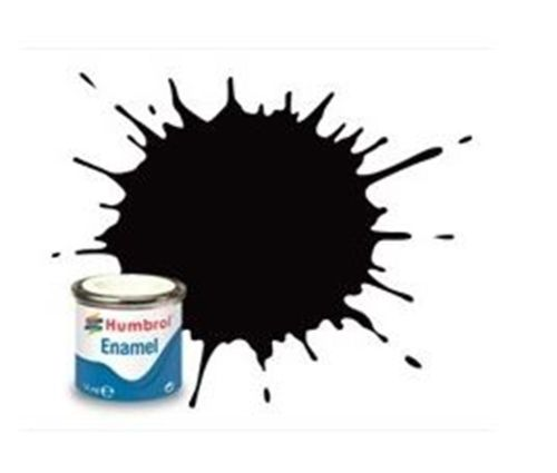Humbrol 85 Coal Black Satin - 14ml Enamel Paint