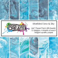 Marbled Sea & Sky Paper Pack 6x6""