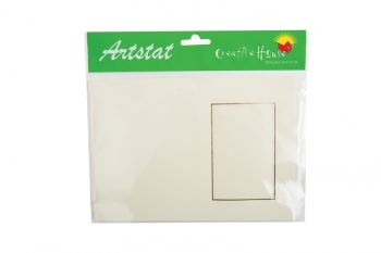 C5 Ivory Rectangle Aperture Blank Card/Envelope 5 pack