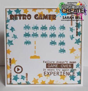 retro gamer on white