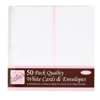 Docrafts Anita's Tall Quality White Cards and Envelopes 50pk