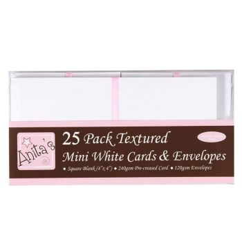 Docrafts Anita's 4x4 Square Textured White Cards and Envelopes 25pk