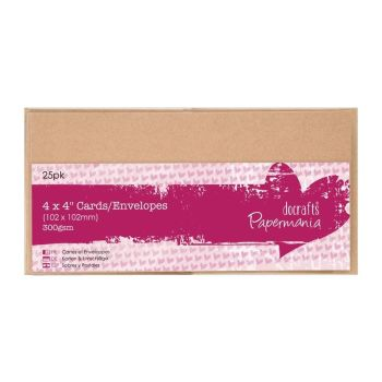 "4 x 4"" Cards/Envelopes (25pk 300gsm) - Kraft"