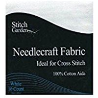 Stitch Garden Needlecraft Fabric White 16 count 30x45cm