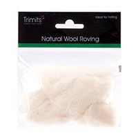 Trimits Felting Natural Wool Roving White 10g