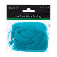 Trimits Felting Natural Wool Roving Turquoise 10g