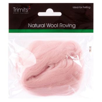 Trimits Felting Natural Wool Roving Baby Pink 10g