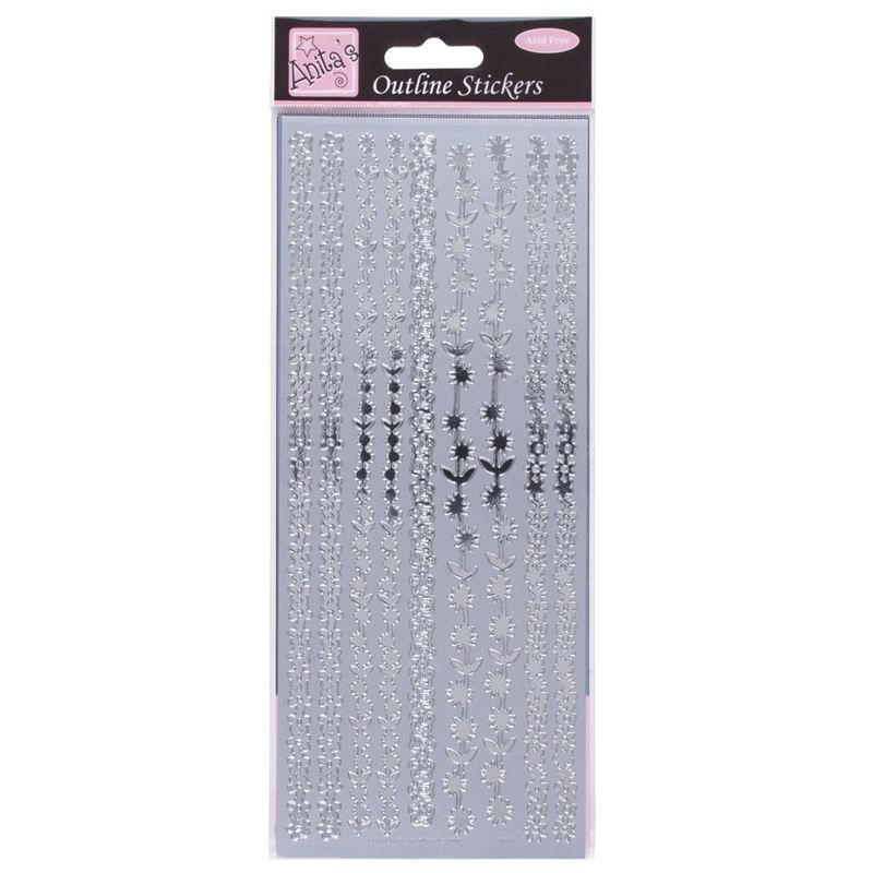 Outline Stickers - Floral Borders - Silver