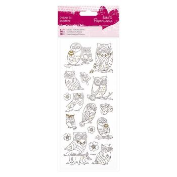 Colour In Glitter Stickers - Owls
