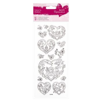 Colour In Glitter Stickers - Rose Heart