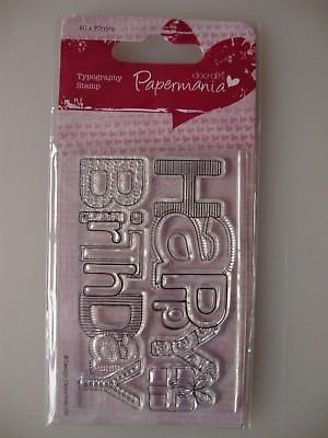 Papermania 60x90 Typography Clear Stamp - Birthday