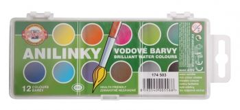 KOH-I-NOOR ANILINKY 12 Colour Brilliant Watercolour Disc Set
