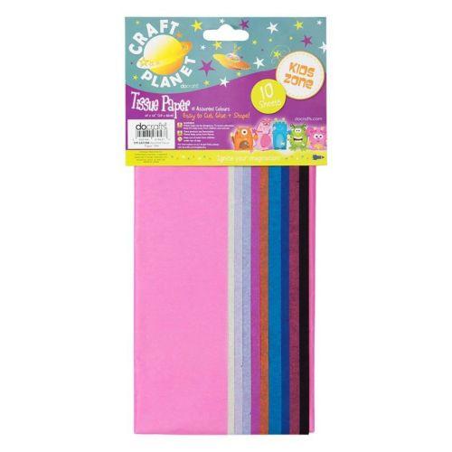50 x 66cm Tissue Paper 10 Assorted Colour Sheets