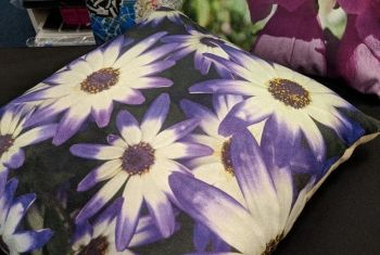 "Pretty in purple : 12 x 12"" (approx) Floral cushion cover with cushion inner"