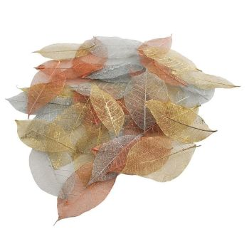 Skeleton Leaves (40pk) - Metallic