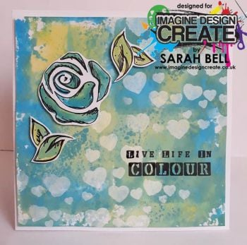 roses heart stencil bluegreen
