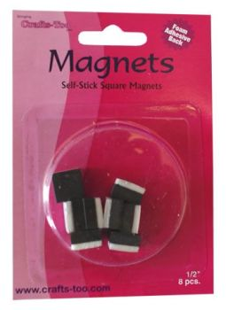 "Crafts Too Self Stick Square Magnets 1/2"" 8pcs"