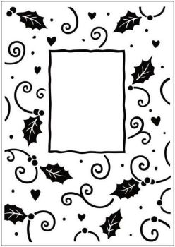 Crafts Too Embossing Folder (approx 10.5cm x 15cm) - Christmas Holly Frame