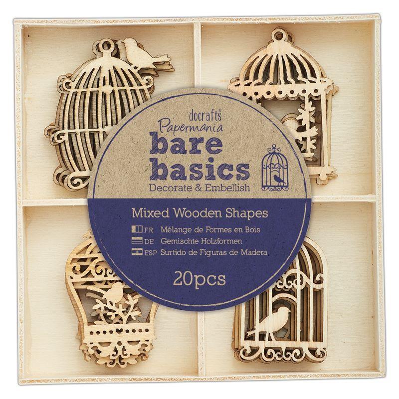Wooden Shapes (20pcs) - Bare Basics - Birdcages