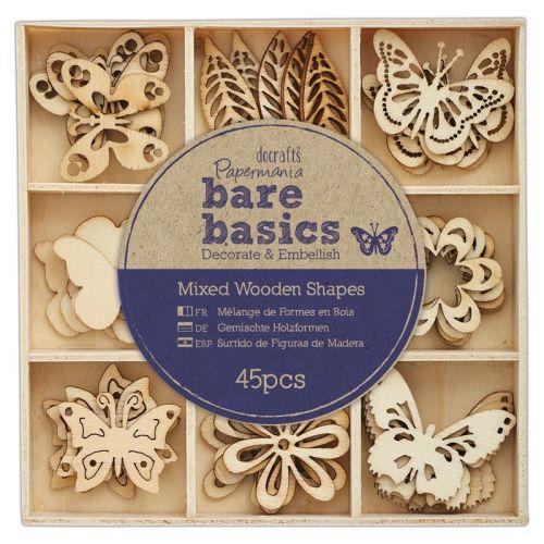 Wooden Shapes (45pcs) - Bare Basics - Flowers & Butterflies