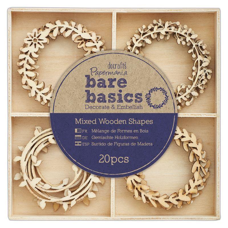 Wooden Shapes (20pcs) - Bare Basics - Wreaths