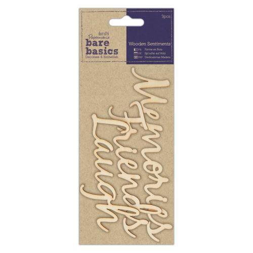 Wooden Sentiments (3pcs) - Bare Basics - Friends, Laugh, Memories
