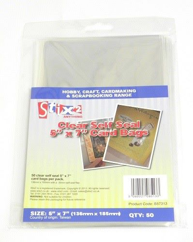 Stix2 Self Seal 30 Micron Card 5 x 7 Bags