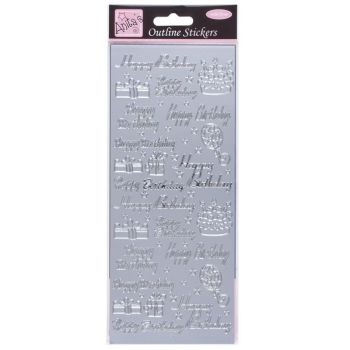 Outline Stickers - Happy Birthday Assorted - Silver