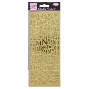 Outline Stickers - Mixed Serif Alphabets - Gold