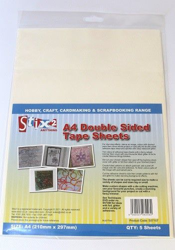 Stix 2 Double Sided A4 Adhesive Tape Sheets - 210mm x 297mm (A4)