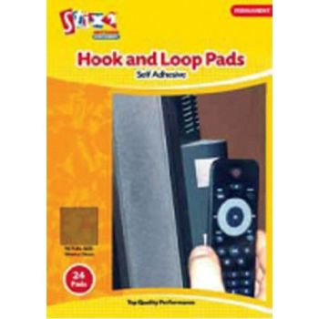 Stix 2 Permanent White Hook and Loop Squares Single Pack of 24