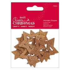 Create Christmas - Wooden Shapes - Bronze Star 12pcs