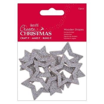 Create Christmas - Wooden Shapes - Silver Star 12pcs