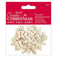 Create Christmas - Wooden Embellishment 20pcs -Gingerbread Men