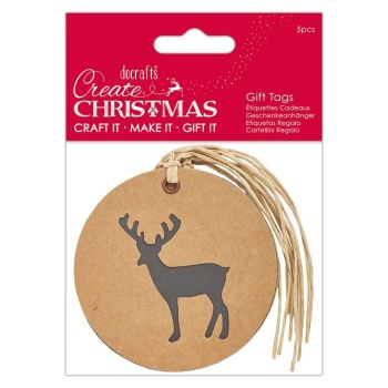 Silhouette Kraft Gift Tag (5pcs) - Stag - Create Christmas