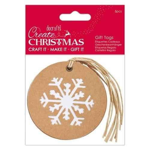 Silhouette Kraft Gift Tag (5pcs) - Snowflake - Create Christmas