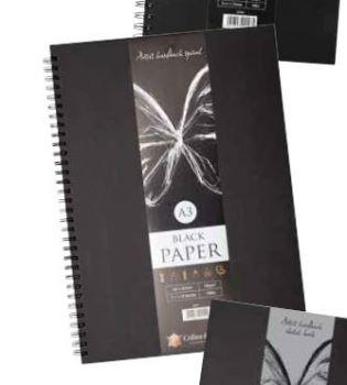 A3 Artist Hardback spiral sketchbook Black cover wiro