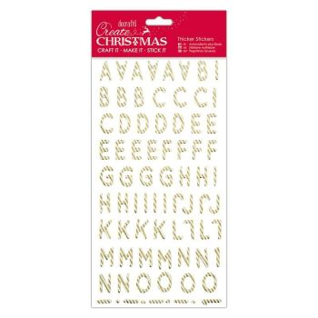 Christmas Alphabet Thicker Stickers - Gold Candy Stripe