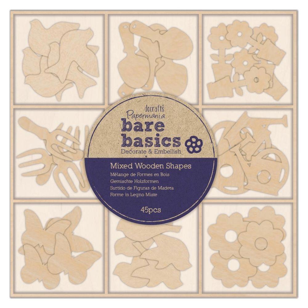 Mixed Wooden Shapes (45PCS) - Bare Basics - Spring Garden