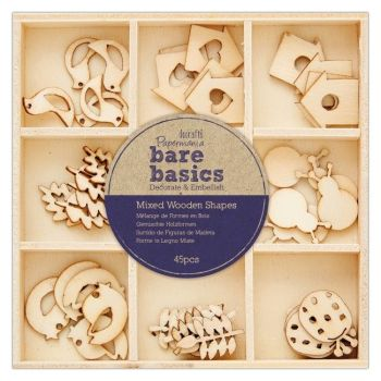 Mixed Wooden Shapes (45pcs) - Bare Basics - Autumn Garden