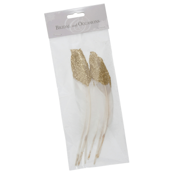 Feathers Half Glitter-Dipped 20cm Gold