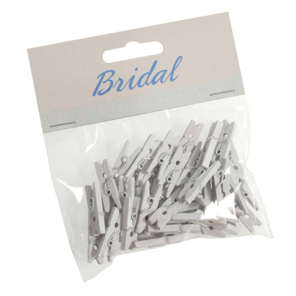 Pegs Wooden 2.5cm Pack of of 45 White