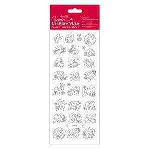 Docrafts Christmas Colour In Christmas Stickers-Advent Numbers