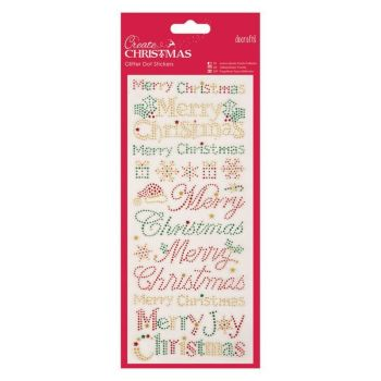 Docrafts Christmas Glitter Dot Stickers - Christmas Text