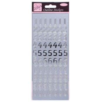 Outline Stickers - Large Numbers - Silver