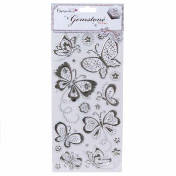 Papermania GEMSTONE Butterflies Stickers Silver