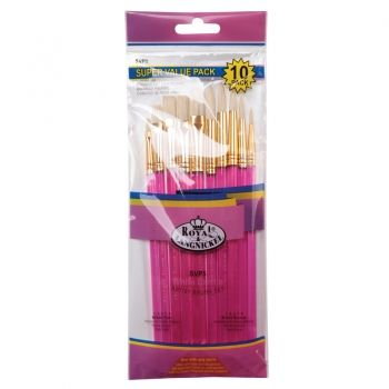 Royal White Bristle Brush Set of 10