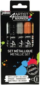 4ARTIST Marker Set Metallic 5 x 4mm by Pebeo
