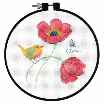 Counted Cross Stitch Kit with Hoop, Be Kind